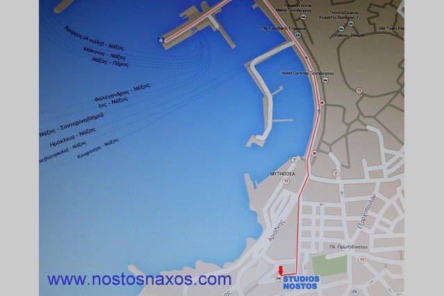Ο χάρτης της Νάξου με προορισμό το ξενοδοχείο.